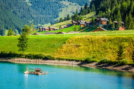 view of beautiful mountain lake. steg,malbun in liechtenstein,europeの素材 [FYI00716974]