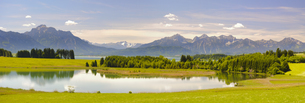 panoramic landscape in bavaria with the alps and the forggenseeの写真素材 [FYI00717187]