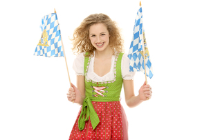 wiesnmadl with flagの写真素材 [FYI00722440]