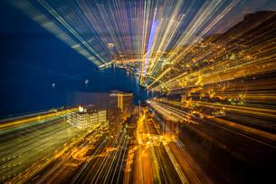 futuristic radial blur background perspectiveの素材 [FYI00725603]