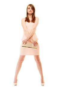 elegance. full length of girl in pink dress and with handbagの写真素材 [FYI00726136]