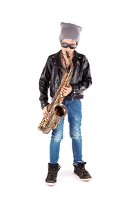 stylish saxophonistの写真素材 [FYI00726176]