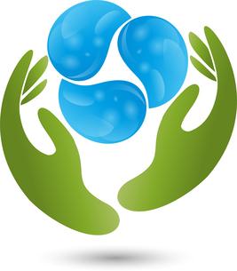 logo,two hands,three drops of waterの写真素材 [FYI00727907]