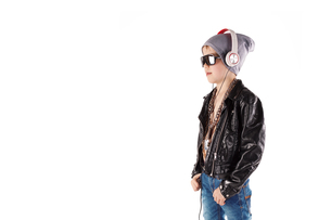 stylish boy with headphonesの写真素材 [FYI00728424]