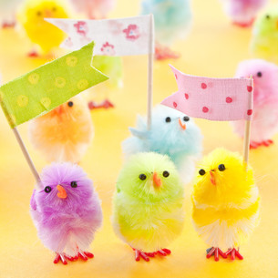 colorful chick for easterの写真素材 [FYI00729146]