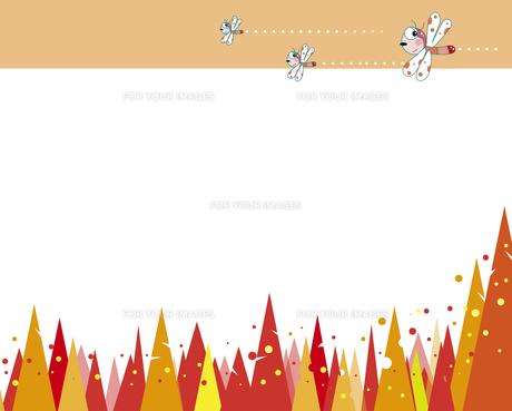 赤とんぼと秋の森のイラスト素材 [FYI00737396]
