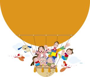 気球に乗った家族のイラスト素材 [FYI00737649]