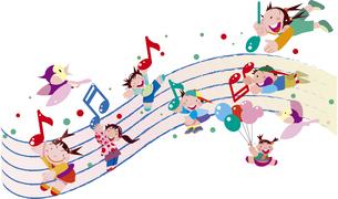 音楽と子供たちのイラスト素材 [FYI00737961]