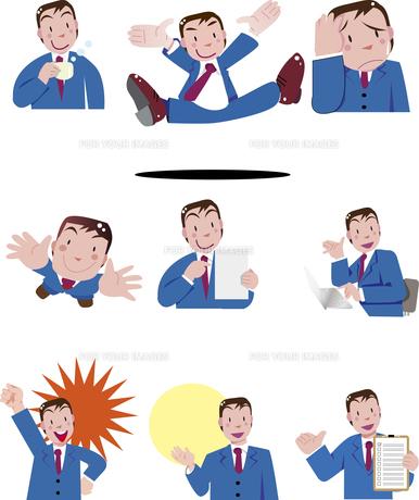 ビジネスマンの表情とポーズのイラスト素材 [FYI00737976]