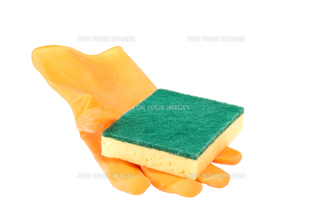 scouring pad on rubber gloveの素材 [FYI00739491]