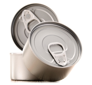 Composition with three metal cans isolated on whiteの素材 [FYI00740785]