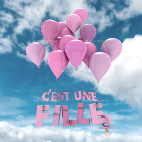French baby girl birth announcement skyの写真素材 [FYI00741188]