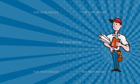 Business card Builder Construction Engineer Worker Cartoonの素材 [FYI00741561]