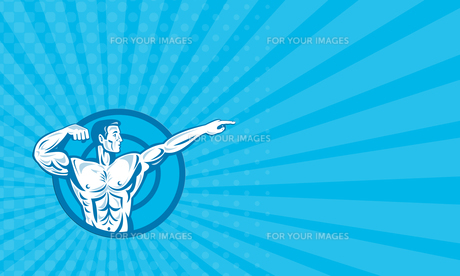 Business card Bodybuilder Flexing Muscles Pointing Side Retroの素材 [FYI00741567]