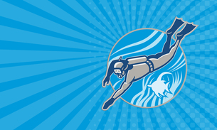 Business card Scuba Diver Diving Retroの写真素材 [FYI00741582]