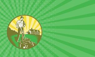 Business card Gardener Mowing Lawn Mower Retroの素材 [FYI00741591]
