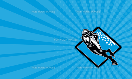 Business card Scuba Diver Diving Retroの写真素材 [FYI00741596]