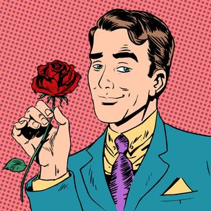 man flower Dating love meeting art pop retro vintageの写真素材 [FYI00741903]