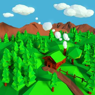 log cabin in the woodsの写真素材 [FYI00742041]
