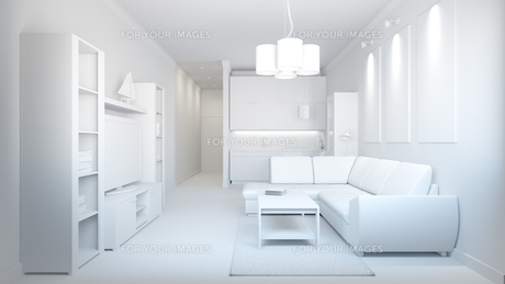 3D interior rendering of a small loft without texturesの写真素材 [FYI00742149]