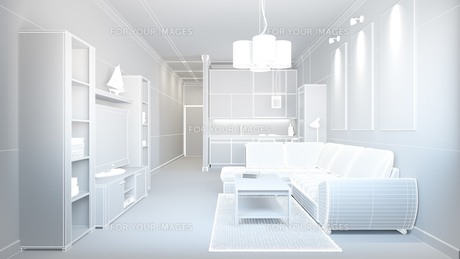3D interior rendering of a small loft without texturesの写真素材 [FYI00742158]