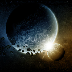 Meteorite impact on a planet in spaceの写真素材 [FYI00742191]