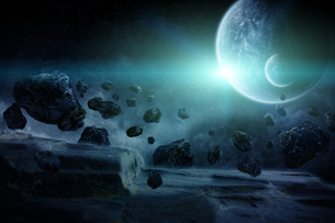 Meteorite impact on a planet in spaceの写真素材 [FYI00742197]