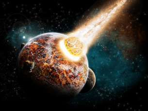 Meteorite impact on a planet in spaceの写真素材 [FYI00742250]