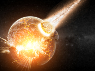 Meteorite impact on a planet in spaceの写真素材 [FYI00742259]
