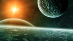 Sunrise over planets in spaceの写真素材 [FYI00742268]