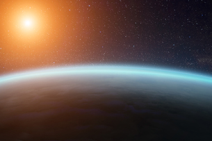 Sunrise over planets in spaceの写真素材 [FYI00742282]