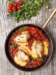 rustic baked italian pollo margarita chickenの写真素材 [FYI00742682]