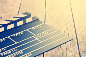 Movie clapper. Vintage photo shot.の写真素材 [FYI00742894]