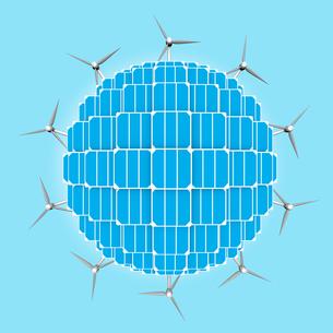 Planet, solar panels,wind turbines generalizing clean energiesの写真素材 [FYI00743169]