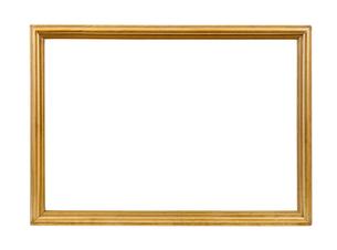 golden decorative empty picture frameの写真素材 [FYI00743269]