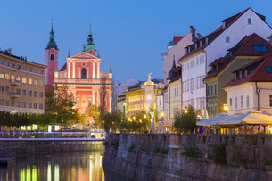 Romantic medieval Ljubljana, Slovenia, Europe.の写真素材 [FYI00743433]