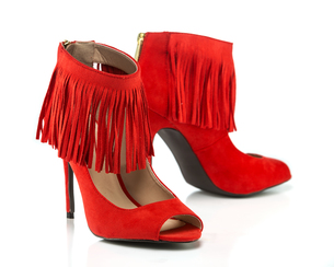 High Heels stiletto with peep toe and fringe detailsの素材 [FYI00743499]