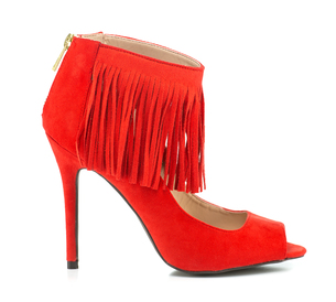 High Heels stiletto with peep toe and fringe detailsの素材 [FYI00743501]