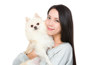 Woman hug with her domestic petの写真素材 [FYI00743781]