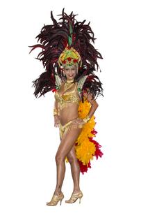 Carnival, Samba Dancer, dressed in feather costumeの写真素材 [FYI00744208]