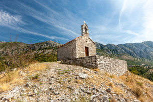 medieval Chapel in mountains. Montenegroの写真素材 [FYI00744439]