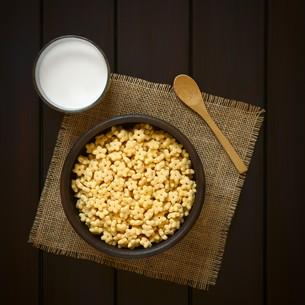 Honey Flavored Breakfast Cereal and Milkの写真素材 [FYI00744779]