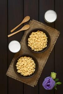 Honey Flavored Breakfast Cereal and Milkの写真素材 [FYI00744787]