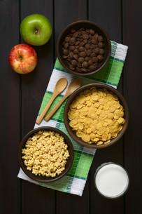 Breakfast Cereals with Milk and Applesの写真素材 [FYI00744790]