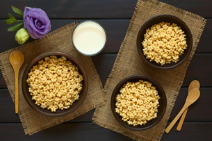Honey Flavored Breakfast Cereal and Milkの写真素材 [FYI00744796]