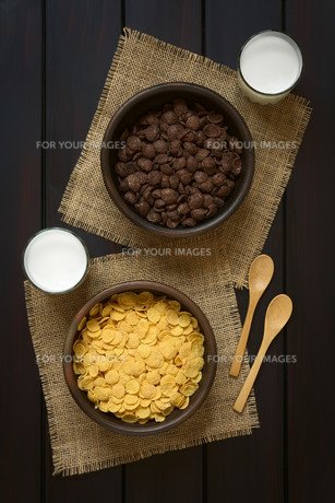 Chocolate and Simple Corn Flakes Breakfast Cerealの素材 [FYI00744800]