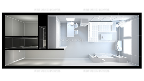 3D interior rendering of a small loft without texturesの写真素材 [FYI00744984]