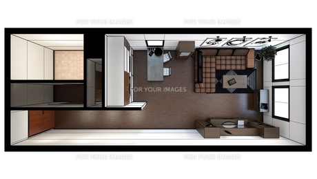 3D interior rendering of a small loft with texturesの写真素材 [FYI00744990]