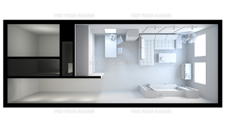 3D interior rendering of a small loft without texturesの写真素材 [FYI00744991]