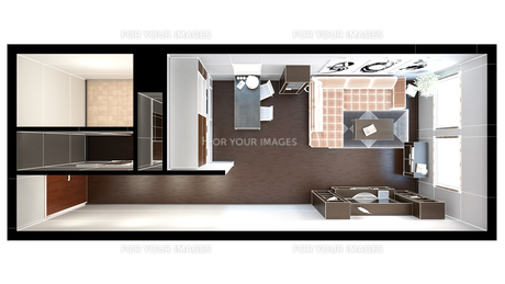 3D interior rendering of a small loft with texturesの写真素材 [FYI00744995]